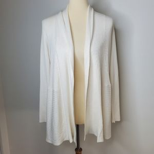 JM Collection cream knit open faced cardigan